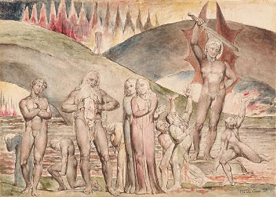 William Blake - The Schismatics and Sowers of Discord: Mahomet, from Dante's Inferno
