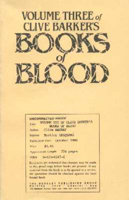 Books Of Blood 3, Berkley 1986 proof