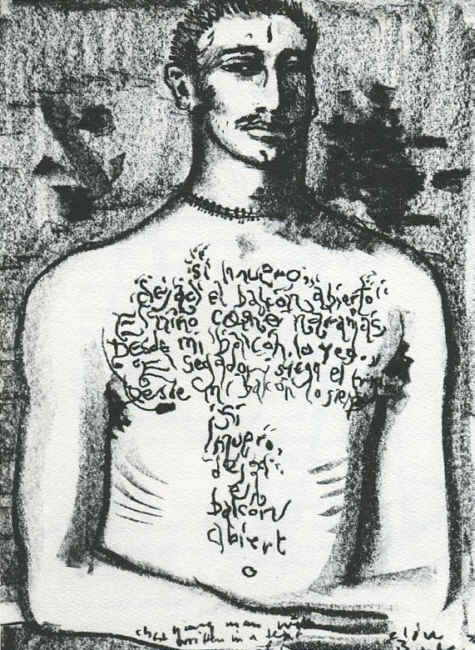 Clive Barker - Young Man With Chest Written In A Text Of Hair