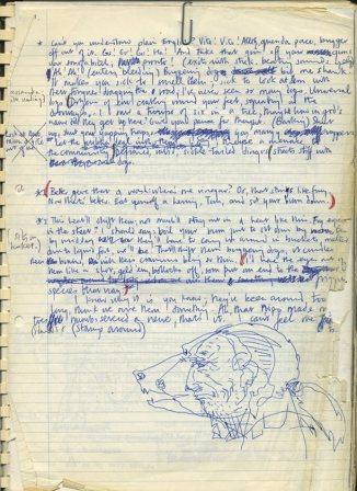Draft page from Dog, 1979