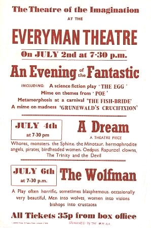 Poster for Hydra's week at the Everyman, July 1974