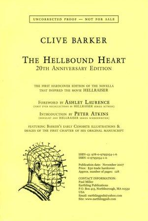 Clive Barker - Hellbound Heart proof edition