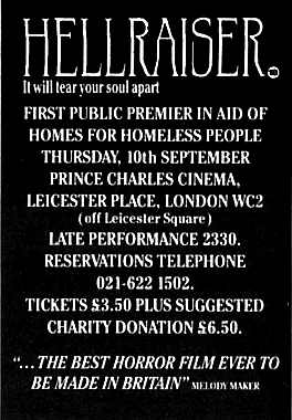 Press advert for Hellraiser's 10 September 1987  premiere