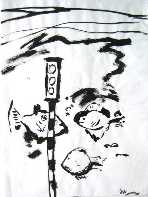 Clive Barker - Brush and ink working of Chickentown under water