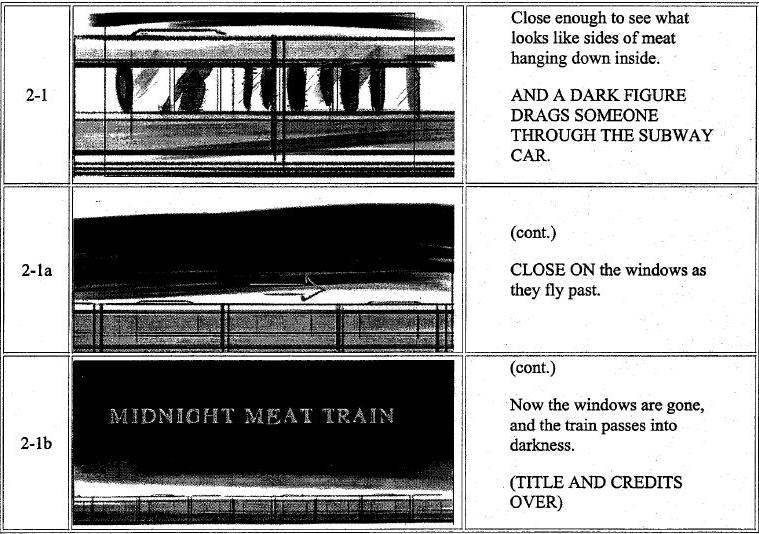 Midnight Meat Train storyboard