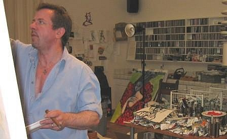 Clive's studio, with CDs