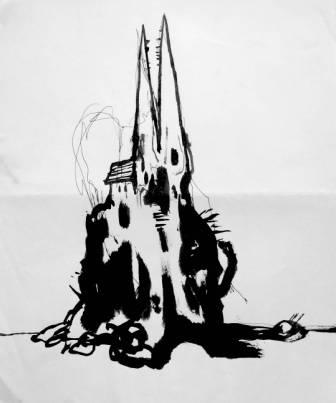 Clive Barker - Original sketch of church with dragon-skull steeples