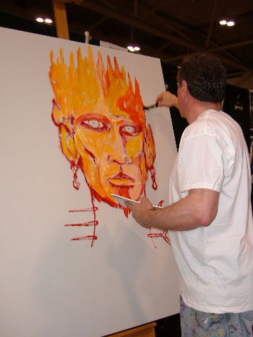 Clive Barker at Rue Morgue Festival of Fear - live painting session