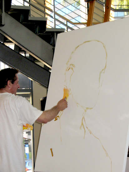 Clive Barker at Tower Records - live painting session