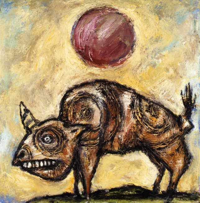Clive Barker - Unicorn Buffalo With Red Sun