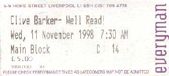 Ticket for Well Read!, 11 November 1998